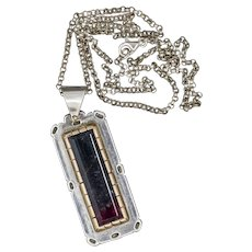 Studio 12.43ct Watermelon Tourmaline 14k and Sterling Silver Pendant Necklace