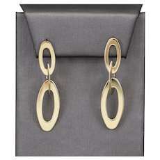 Roberto Coin Oval Link Dangle Earrings with Pink Sapphires in 18k Yellow Gold