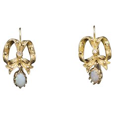 Victorian Revival Ribbon Earrings with Diamonds and Opal Dangles in 14k Yellow