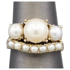 Vintage Cultured Akoya Pearl Engagement Ring and Wedding Band in 14k Yellow Gold