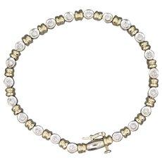 Two Tone 1.04ctw Diamond Tennis Bracelet in 14k White and Yellow Gold