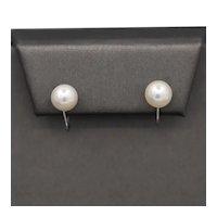 Vintage 7.5mm Akoya Pearl Screwback Earrings in 14k White Gold