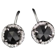 Rose Cut Black Diamond and White Diamond Lever Back Earrings 14k White Gold
