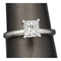 Brilliant 1.00ct Princess Cut Diamond Solitaire Ring in 14k White Gold