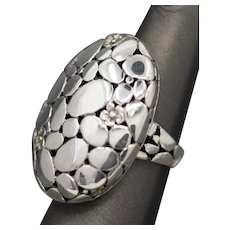 Bold Handcrafted Pebble and Flower Pattern Sterling Silver Statement Ring