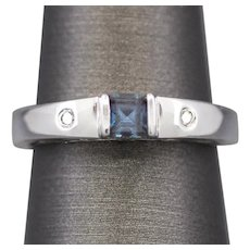 Minimalist 0.53ctw Synthetic Alexandrite and Diamond Stackable Band Ring in 10k