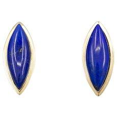 Bold Geometric Lapis Lazuli Stud Earrings in 14k Yellow Gold
