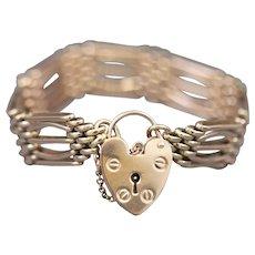 Victorian Gate Heart Padlock Engagement Bracelet in 9k Rose Gold