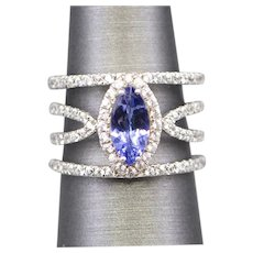 Tanzanite and White Zircon Cocktail Ring in Sterling Silver
