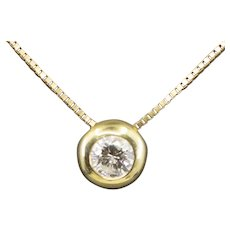 Classic Bezel Set 1.12ct Diamond Necklace in 14k Yellow Gold