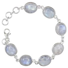 Handcrafted Moonstone Link Bracelet in Sterling Silver with Adjustable Clasp