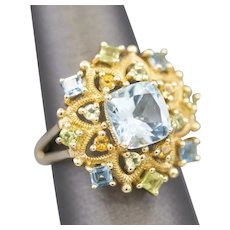 Sparkly Blue Topaz Citrine and Peridot Renaissance Style Cocktail Ring