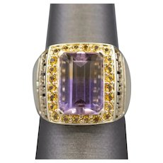 7.0ct Ametrine and Citrine Cocktail Ring with Greek Design in 14k Yellow Gold