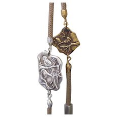 Clifton Nicholson Brass and Silver Talisman Lariat Necklace