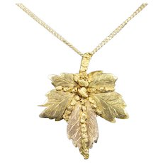 Victorian Gold Nugget Leaf Watch Fob Holder Brooch Pendant