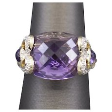 3.00ct Amethyst and Diamond Heart Accent Cocktail Ring in 14k Yellow Gold