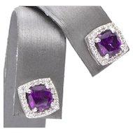 3.22ctw Grape Purple Umbalite Mahenge Garnet & Diamond Earrings 14k