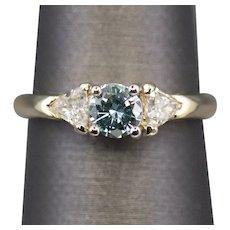 Beautiful Blue Diamond Engagement Ring in 14k Yellow Gold