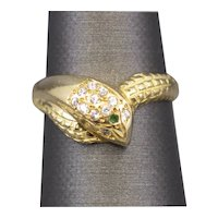 Emerald and Diamond Snake Wrap Ring in 18k Yellow Gold