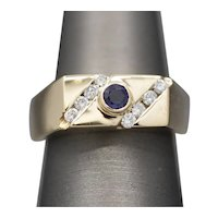 Men's Sapphire and Diamond Band Ring in 14k Yellow Gold