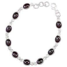 Handcrafted Purple Garnet and Sterling Silver Adjustable Bracelet