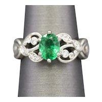 Emerald and Diamond Engagement Ring in Palladium