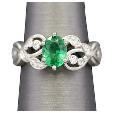 Emerald and Diamond Engagement Ring in Palladium