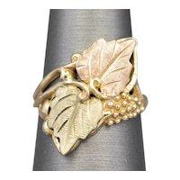 Vintage Black Hills Gold Leaves and Vines Cocktail Ring in 10k and 12k