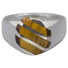 Vintage Taxco Mexico Tiger's Eye Men's Ring in Sterling Silver