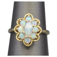 Vintage Blue Opal Cluster Ring in 14k Yellow Gold