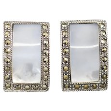 Vintage Deco Sterling Silver Marcasite Mother of Pearl Earrings