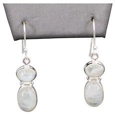 Handcrafted Sterling Silver and Moonstone Drop Earrings