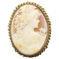 Exquisite Art Nouveau Carved Shell Cameo Brooch Pendant with 10k Gold Frame