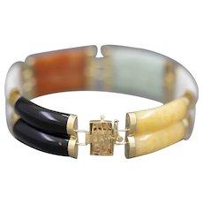 Beautiful Double Link Jadeite Station Bracelet in 14k Gold