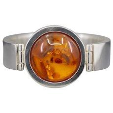 Bold Baltic Amber Polish Made Modern Bracelet in Sterling Silver