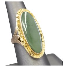 Victorian Jade and Gold Nugget Cocktail Ring in 10k Gold