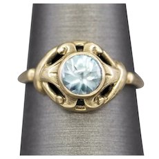 Victorian Blue Zircon Cocktail Ring in 10k Yellow Gold