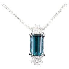 Stunning Indicolite Tourmaline and Diamond Pendant Necklace in 18k White Gold