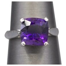 Handcrafted 3.65ct Amethyst Solitaire Ring in Sterling Silver