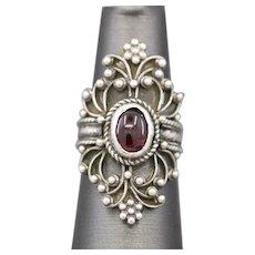 Vintage Garnet Boho Ring in Sterling Silver Handcrafted