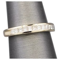 Princess Cut Channel Set Diamond Wedding Band Ring in 14k Yellow Gold