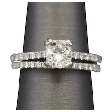 Certified Cushion Cut Diamond Engagement and Wedding Ring Set in Platinum