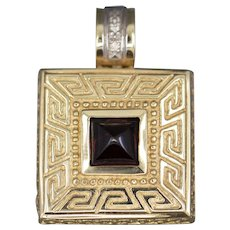 Vintage Garnet and Greek Key Square Pendant in 14k Yellow Gold