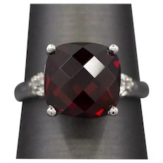 5.50ct Double Checkerboard Cut Garnet set in 10K White Gold Ring Size 6