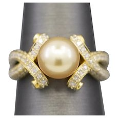 Golden South Sea Pearl and Diamond Ring in 14k Yellow Gold