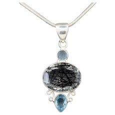 Tourmalinated Quartz and Blue Zircon Pendant Necklace in Sterling Silver