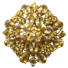 Vintage Lacy Citrine Brooch Pin Pendant in 10k Yellow Gold