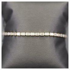"Sparkling Diamonique Emerald Cut Tennis Bracelet in 14k Yellow Gold 8"""