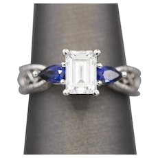 Emerald Cut Cubic Zirconia Engagement Ring in 14k White Gold