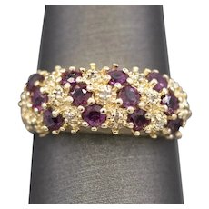 Vintage Ruby and Diamond Band Ring in 14k Yellow Gold
